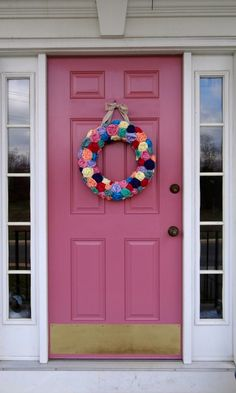 Our newly painted front door- guess who wanted pink?
