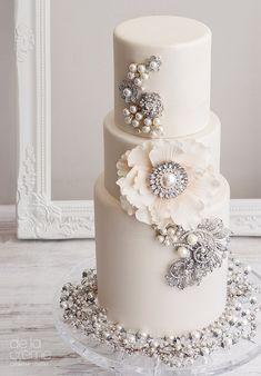 Wedding Cakes Ideas: Cream With Rhinestone Jewels