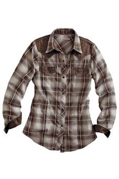 """For those laid-back, full on """"lesbionic"""", work boot, silver jeans - wearing days :). Women's Brown Tin Haul Style Western Wear Cowgirl Shirts, Cowgirl Outfits, Western Outfits, Rodeo Shirts, Plaid Shirt Outfits, Cute Outfits, Plaid Shirts, Western Style Shirt, Western Shirts"""