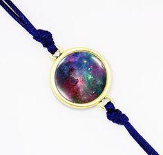 Colorful Nebula Bracelet on Blue Cord, Space Jewelry, Handmade Bracelet With Nebula Photo, Glass Dome Bracelet, Bezel Color to Choose