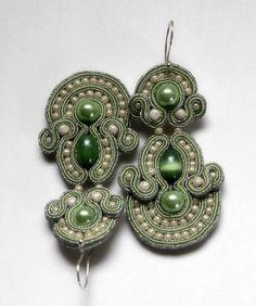 cool mint  soutache earrings   by KimimilaArt