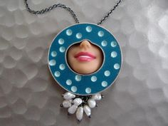 Smile Necklace Contrast Polka w/ fresh water pearls P-NE-10