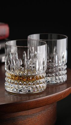 Glasses to Drink in Style Waterford Crystal, Lismore Diamond Straight Sided Crystal Whiskey Tumbler, Pair