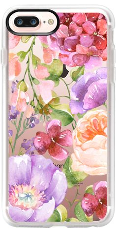 Casetify iPhone 7 Plus Case and iPhone 7 Cases. Other Floral iPhone Covers - Pink and Purple Watercolor by Ruby Ridge Studios | Casetify