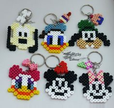 Mickey Mouse and friends perler bead keychains by improvingdreams