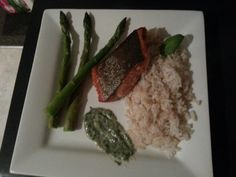 Crispy Salmon with Brown Rice.