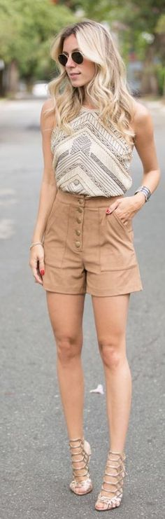 Glam For You Embroidered Top & Suede Button Shorts Outfit Idea