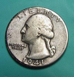 1941 Washington Quarter Vintage Circulated 90% Silver Preppers Survivalists Coin