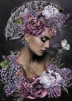 Fuchsia Mixed Media - She Cast Her Fragrance by G Berry Fantasy Photography, Portrait Photography, Mosaic Wall Art, Floral Headpiece, Foto Art, Iris Flowers, Cross Paintings, Flower Pictures, Portrait Art