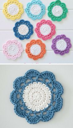 A Collection of easy crochet coasters, flower coaster, animal coaster, coaster applique / motif design Crochet Placemat Patterns, Crochet Flower Patterns, Crochet Designs, Crochet Flowers, Crochet Coaster Pattern Free, Free Pattern, Crochet Circles, Crochet Squares, Crochet Sunflower