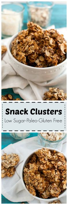 Snack Clusters low in sugar, #paleo #glutenfree #vegan