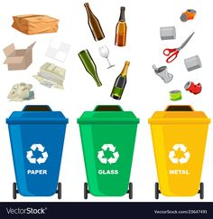 Set of different trash bin Royalty Free Vector Image Preschool Learning Activities, Teaching Kids, Board Game Design, School Clipart, Trash Bins, School Decorations, Math For Kids, Recycling Bins, Earth Day