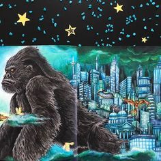 It took me a long time to light up the city #kerbyrosanes #imagimorphia Mixed media: #kohinoorhardtmuth #mykohinoor #fabercastellpolychromos #coloringbooks #colouringbookforadults #adultcoloring #adultcolouring #blackaneri