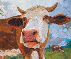 How Now, Brown Cow (collage of hand-painted paper on wood panel) by Elizabeth St. Practice This Simple Shape for Collage Art That Will Impress! Shape Collage, Paper Collage Art, Painting Collage, Mixed Media Collage, Collage Ideas, Paintings, Paper Art Projects, Kunst Online, Cow Art