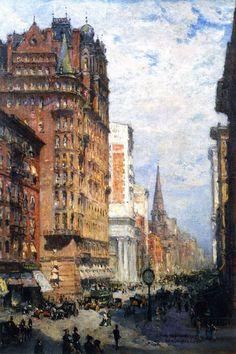 Città e paesi. Colin Campbell Cooper: Fifth Avenue, New York City. Olio su masonite, del 1906. Cm 39 X 27. New York Historical Society, New York. La costruzione tutta in mattoncini, con l'angolo stondato e le guglie metalliche agli angoli, è il famoso Waldorf Astoria Hotel, tra la 33° e la 34° strada.