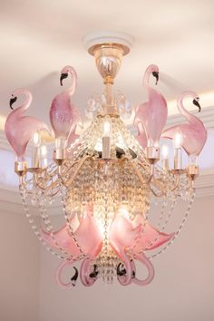 Oh my goodness, a pink flamingo chandelier. Flamingo Decor, Pink Flamingos, Flamingo Outfit, Flamingo Lights, Pink Bird, Everything Pink, Home Interior, Hand Blown Glass, My Favorite Color