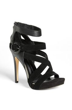 Strappy, black suede sandal #sandal #shoes