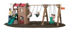 Step2 Naturally Playful&#174 Adventure Lodge Play Center with Glider by Step2. $999.99. Includes two strap swings, a two-person glider, and backboard hoop for ball toss (ball not included). Double-wall poly construction eliminates common swing set problems. Maximum weight 75 lbs on each swing. Two stories of climbing and hiding play space. Sturdy ladder steps and 3/4 climbing wall with hanging climbing rope ladder lead to upper level with fun steering wheel and l...