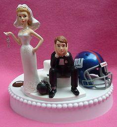 Wedding Cake Topper New York Giants Football K Themed w/ Garter & Display Box