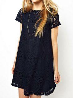 Navy Lace Shift Dress