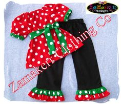 Girl Christmas Outfit Toddler Baby Infant Polka Dot Pant Set - Santa Outfit Clothes 3 6 9 12 18 24 month size 2T 2 3T 3 4T 4 5T 5 6 7 8. $45.99, via Etsy.
