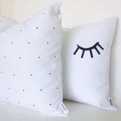 Beautiful simple white and black hand painted cushions by COLASHOME