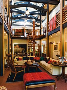 Sam Maloof crafted the spiral staircase in the new home that is the centerpiece of the