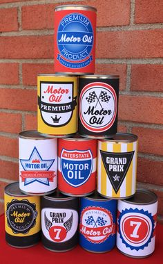 Grand Prix Party Oil Can Wraps