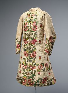 Waistcoat, linen, silk and metallic thread, early 18th century, British.