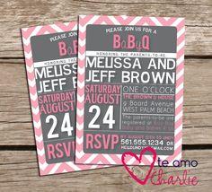 BBQ Baby Shower invitation, baby q invitation with chalkboard ...