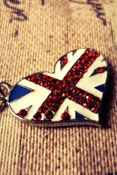 Union jack necklace, very pretty. Not to over the top, but is has a perfect amount of bling to go with a nice dress.