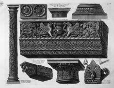 A frieze with architrave, column, two capitals, a bed, a shelf and two terracotta - Giovanni Battista Piranesi