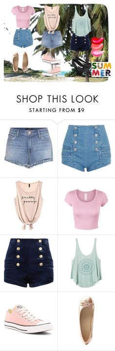 """Summer ;)"" by ella2811 ❤ liked on Polyvore featuring J Brand, Pierre Balmain, RVCA, Converse, Charlotte Russe and Melissa"
