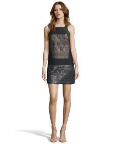 4.collective gold and black herringbone lurex shift dress | BLUEFLY up to 70% off designer brands