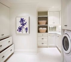 White Paint Colors That Work. The best white paint colors for decorating your home. Tips for selecting white paint colors to decorate with. White Laundry Rooms, Modern Laundry Rooms, Laundry Room Shelves, Laundry Room Remodel, Laundry Room Cabinets, Laundry Room Design, Laundry Cupboard, Laundry Art, Garage Laundry