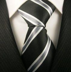 Neckties by Scott Allan, Black and Gray Stripe Neckties Dapper Gentleman, Gentleman Style, Wedding Ties, Gray Weddings, Sharp Dressed Man, Mans World, Black Stripes, Men Dress, Sexy
