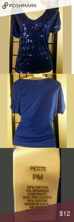 "Fab Total Blue Sequined Front Party Top Fabulous~Size Petite Med. ~Dress Barn ~Royal Blue~ Sequinned Front~ Short Sleeve ~T-Shirt~ Comfortable Fit ~Casual/Party Top?  Bust: 42""?  Length: 24""? Dressbarn Tops"