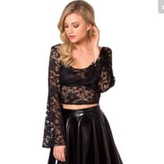 Black Milk Amelia Noir Crop Top This beautiful black lace bell sleeved crop is going to be all the rage this spring. Mark my words, the 70's are making a come back. So get it now! Be ahead of the game! Perfect condition. No snags or pulls in the lace. Worn once. Please ask for photos of the actual item before purchase. Offers made via the offer button will be considered. Blackmilk Tops Crop Tops