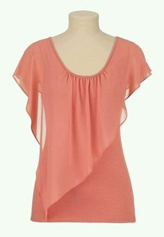 Flutter Sleeve Chiffon Overlay Tee from maurices. Shop more products from maurices on Wanelo. Blouse Patterns, Blouse Designs, Sewing Blouses, Short Tops, Blouse Styles, Designer Dresses, Fashion Dresses, Chiffon, Tunic Tops