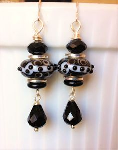 Silver wire black/white lampwork & black glass beads drop dangle earrings. Please visit my ebay page to see all of my earrings for sale: www.ebay.com/...?::