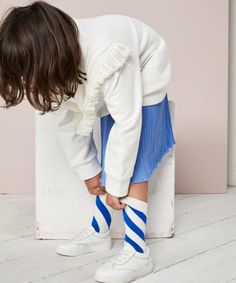 Children and Young Winter Outfits, Kids Outfits, Blue Pleated Skirt, Skirts For Kids, Child Doll, Kids Prints, Summer Girls, Kids Wear, Kids Boys