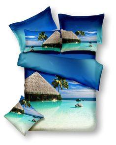 Modré ložní povlečení s motivem exotické pláže Bedding, Bags, Handbags, Bed Linen, Dime Bags, Lv Bags, Linens, Purses, Blanket