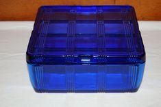 Hazel Atlas Glass Cobalt Blue Criss Cross Refrigerator Box