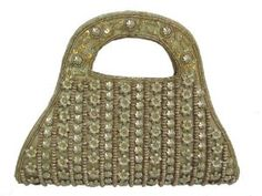 Iba Designer Gold Beaded and Flower Women Clutch Purse