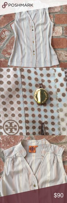 Tory Burch silk sleeveless top XS S 2 4 This is a silk top with gold buttons by Tory Burch.   Worn maybe 5 times, great condition.   It's marked as size 2 but could fit a size 4 as well.   No trades Tory Burch Tops