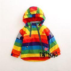 Boys Girls Raincoat Jackets Fashion Cool Bomber Jacket Kids Rainbow Colour Para Meninas Fashion Style Boys Outerwear for Autumn