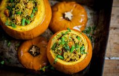 veg biryani in a pumpkin