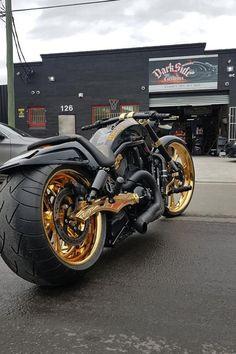 🤯 Harley Davidson Night Rod custom Gold by DarkSide, Vrod Custom, Custom Moped, Custom Choppers, Custom Sport Bikes, Custom Baggers, Harley Night Rod, Harley Davidson Night Rod, Harley Davidson Motorcycles, Triumph Motorcycles