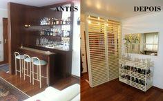 Projeto da Arquiteta Larissa Araujo Soares - Sigma Arquitetura. Esse apartamento ganhou outra divisória para a porta de entrada e um bar novo. Mesmas funções, mas com uma estética mais atual.