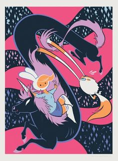 """Mondo x Cartoon Network """"Fionna with Lord Monochromicorn and Cake"""" Adventure Time Screen Print by Tiny Kitten Teeth"""